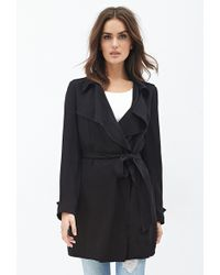 Forever 21 Oversized Collar Wrap Coat - Lyst