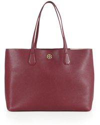 Tory Burch Perry Leather Tote purple - Lyst
