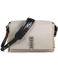 Proenza Schouler Elliot Leather & Suede Shoulder Bag With Crocodile-Embossed Strap beige - Lyst
