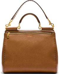 Dolce & Gabbana Brown Pebbled Leather Miss Sicily Large Bag - Lyst