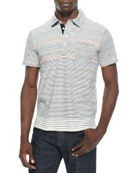 Billy Reid Multistriped Cotton Polo Natural - Lyst