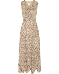 Anna Sui Printed Georgette Maxi Dress - Lyst