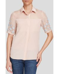 Rebecca Taylor Top - Short Sleeve Stone Embellished - Lyst