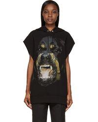 Givenchy Black Rottweiler Print Sleeveless Hoodie - Lyst