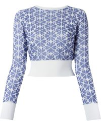 Alexander McQueen Embossed Cut Out Flower Sweater - Lyst