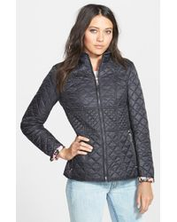 Betsey Johnson Zip Front Mix Quilt Jacket black - Lyst