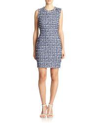 St. John Fringed Tweed Dress blue - Lyst