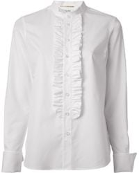 Saint Laurent Ruffle Front Shirt - Lyst