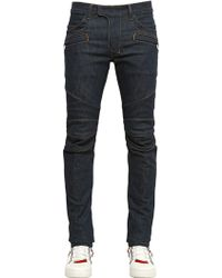 Balmain 16cm Stretch Cotton Denim Biker Jeans - Lyst