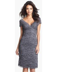 Marina Petite Women'S Tiered Lace Dress - Lyst