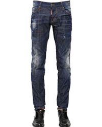 DSquared² 18Cm Red Spots Wash Stretch Denim Jeans - Lyst
