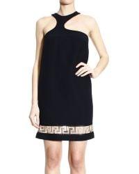 Versace Asymmetric Neck Sleeveless Dress With Rhinestone Greca Bottom - Lyst
