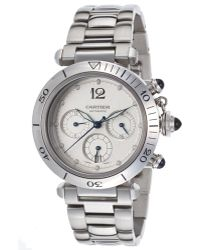 Cartier Pre-Owned Men'S Pre-Owned Pasha Automatic Chronograph Ss Silver-Tone Dial - Lyst