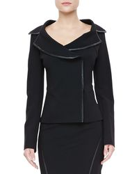 Donna Karan New York Leather-trim Offset Jacket - Lyst