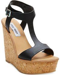 Steve Madden Iluvit T-Strap Platform Wedge Sandals - Lyst