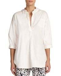 Armani Cotton Poplin Blouse white - Lyst
