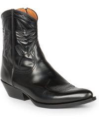 Saint Laurent - Santiag Leather Western Ankle Boots - Lyst
