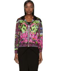 Versace Green and Pink Psychedlic Print Bomber Jacket - Lyst