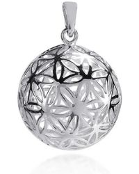 Aeravida - Flower Of Life Kabbalah 3d Ball Sterling Silver Pendant - Lyst