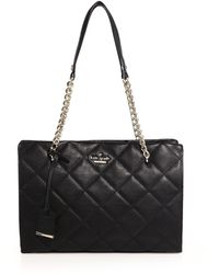 Kate Spade Emerson Place Quilted Leather Tote black - Lyst