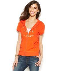 Michael Kors Michael Short-Sleeve Zip-Up Logo Hoodie - Lyst