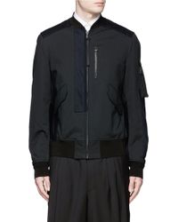 Lanvin | Leather Patch Padded Bomber Jacket | Lyst