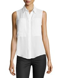 Max Studio Patch-Front Sleeveless Blouse - Lyst