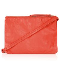 Topshop Leather Dual Pouch Crossbody Bag - Lyst
