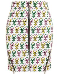 Jeremy Scott Face Printed Stretch Cotton Mini Skirt - Lyst