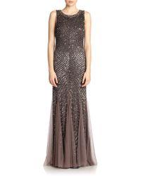 Aidan Mattox Sequined Godet Gown - Lyst