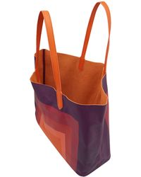 Yarnz - Orange Square Illusion Leather Bag - Lyst