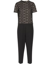N°21 - Broderie Anglaise Cotton And Ponte Jumpsuit - Lyst