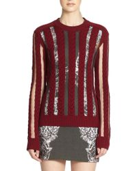 McQ by Alexander McQueen Sheer Panel Cable Knit Sweater - Lyst