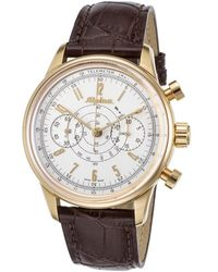 Alpina - Men's Ltd. Ed. Automatic Chronograph Brown Leather Silver-tone Dial - Lyst