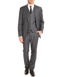 Hackett Mayfair Prince Of Wales Blue 3piece Suit - Lyst