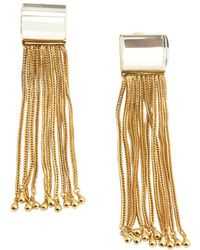 Rachel Zoe Crystal And Gold Faceted Lucite Tassel Earrings - Lyst