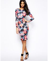 Lipsy Bodycon Midi Dress in Oriental Floral - Lyst