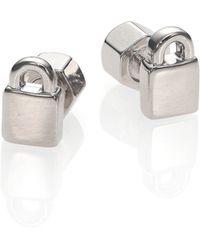 Marc By Marc Jacobs Locked Up Stud Earrings/Silvertone - Lyst