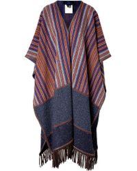 Etro Wool Striped Poncho - Lyst