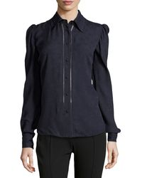 Zac Posen Long-sleeve Collared Button-up Blouse - Lyst