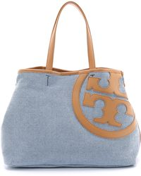 Tory Burch Lonnie Canvas Mini Tote - Tory Navy/Vachetta - Lyst