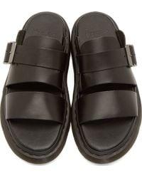 Dr. Martens Black Leather Slide Sandals - Lyst