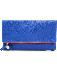 Clare V. Supreme Fold Over Clutch - Blue - Lyst