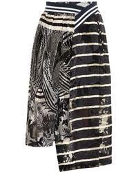 Preen Spin Floral And Striped Devoré Silk Skirt - Lyst