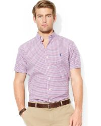 Ralph Lauren Polo Shortsleeved Checked Poplin Shirt - Lyst