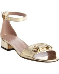 Gucci Light Gold Suede Horsebit Detail Anklestrap Sandals - Lyst