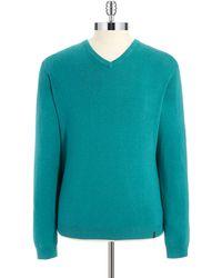Calvin Klein Teal V-Neck Sweater - Lyst