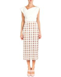 Nina Ricci Asymmetric-Neck Dress W/ Printed Skirt - Lyst