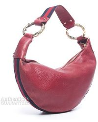 Gucci Preowned Pebbled Leather Half Moon Bamboo Ring Hobo Bag - Lyst