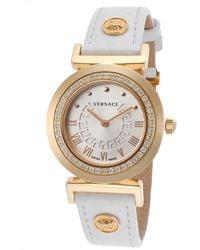 Versace Women'S Diamond White Genuine Leather Silver-Tone Dial gold - Lyst